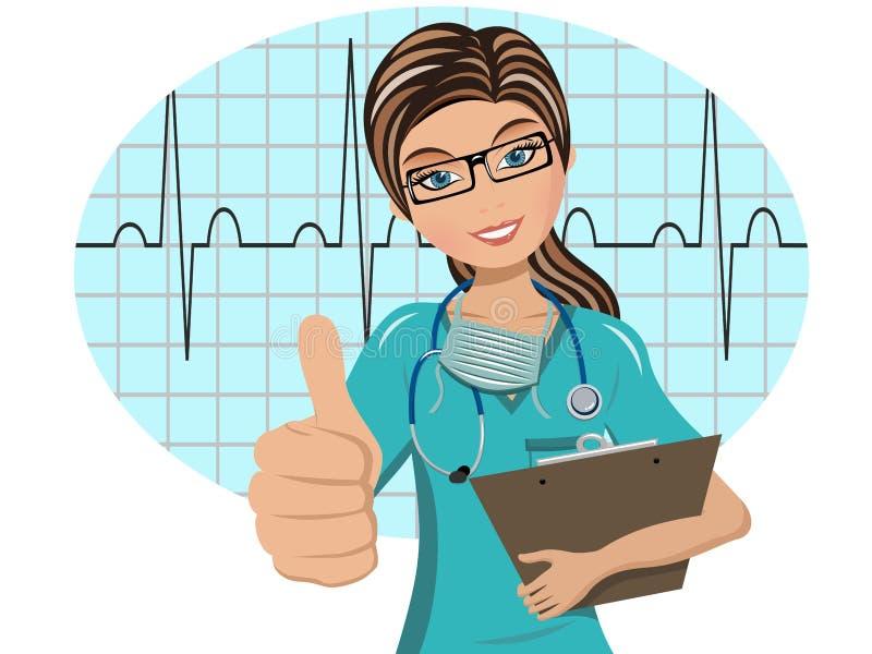Vrouw geïsoleerde het examenachtergrond van de artsenduim omhoog ecg stock illustratie