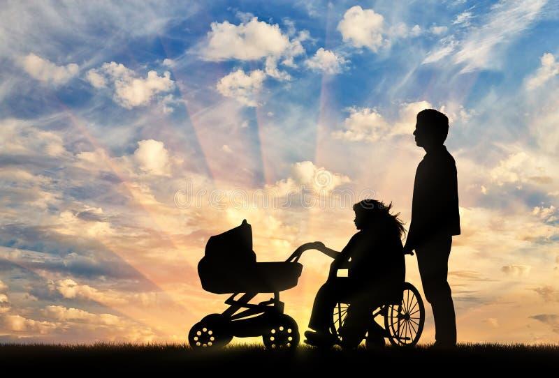 Vrouw gehandicapt in rolstoel en kinderwagen met haar echtgenoot royalty-vrije illustratie