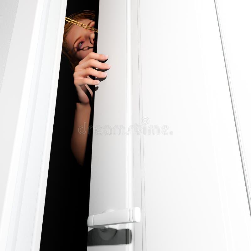 Vrouw geketende deur stock illustratie