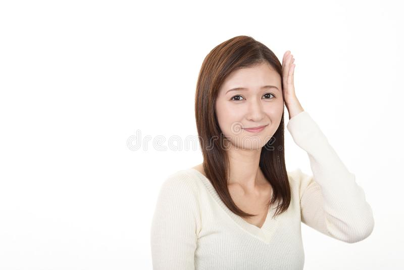 Vrouw gelukkig glimlachen royalty-vrije stock foto