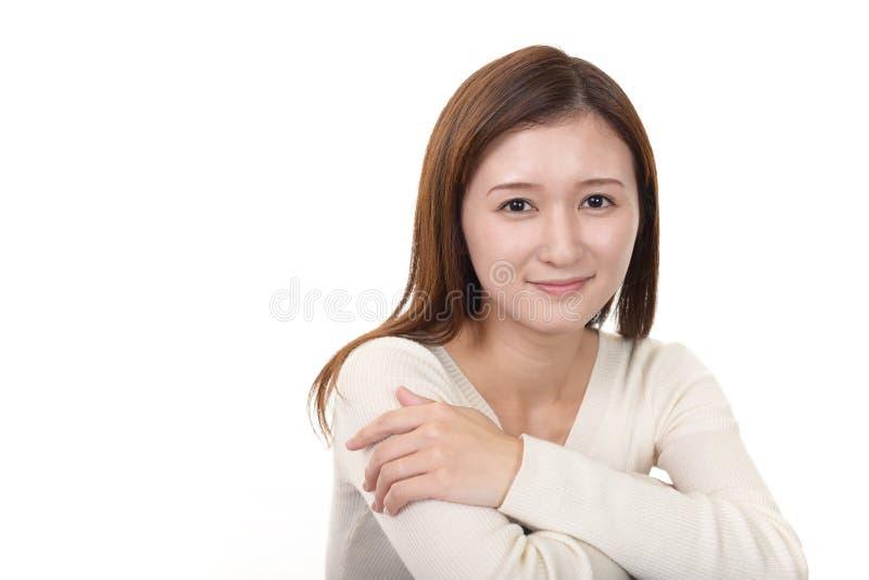 Vrouw gelukkig glimlachen stock afbeeldingen