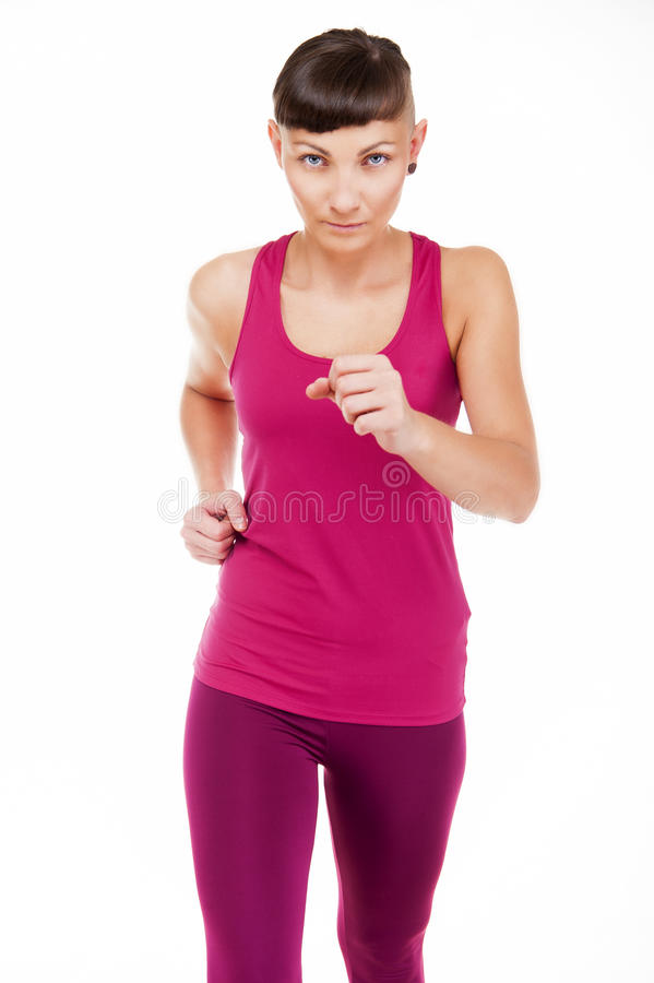Vrouw in geschiktheidsuitrusting lopen, geïsoleerd over witte achtergrond royalty-vrije stock foto's