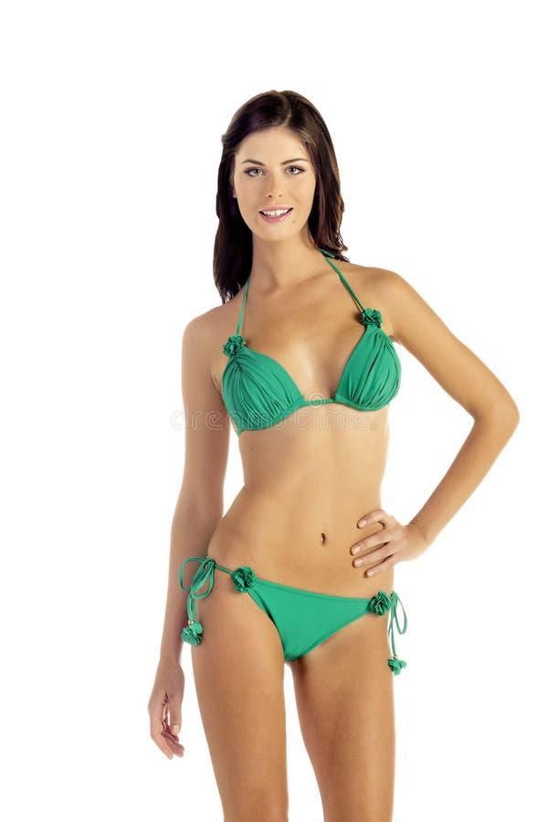 Vrouw in Groene Bikini stock afbeelding