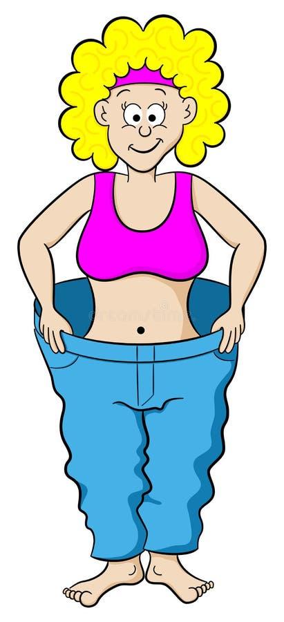 Vrouw in grote broek na dieet royalty-vrije illustratie