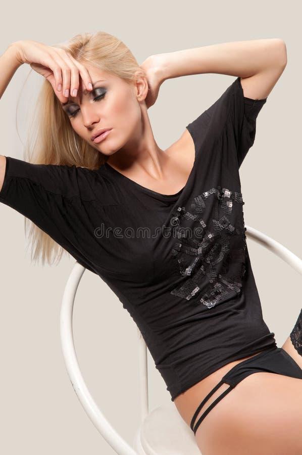 Vrouw in haar ondergoed royalty-vrije stock afbeeldingen