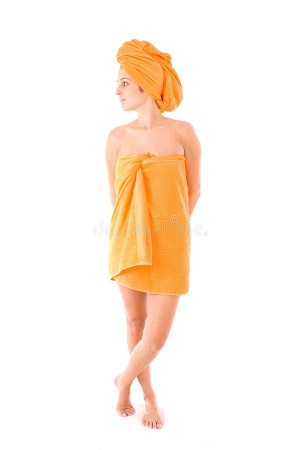Vrouw in Handdoek stock fotografie