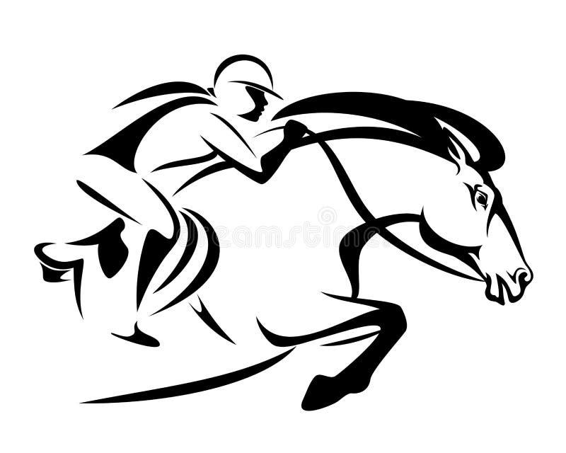 Vrouw het berijden springend paard vectorontwerp stock illustratie