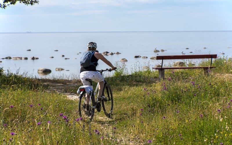 Vrouw het bicycling op de overzeese kust royalty-vrije stock fotografie