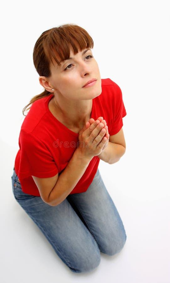 Vrouw het bidden royalty-vrije stock afbeelding