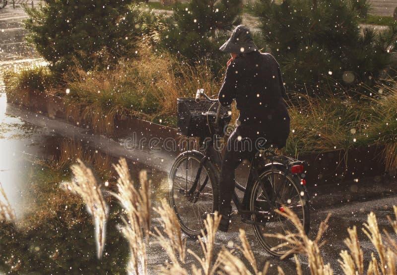 Vrouw het cirkelen in regen met regenkleding - regendalingen die zwaar vallen royalty-vrije stock afbeelding