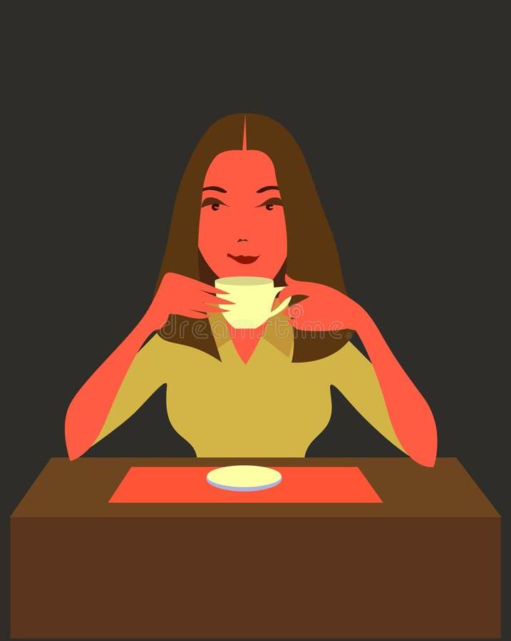 Vrouw het drinken koffie vector illustratie