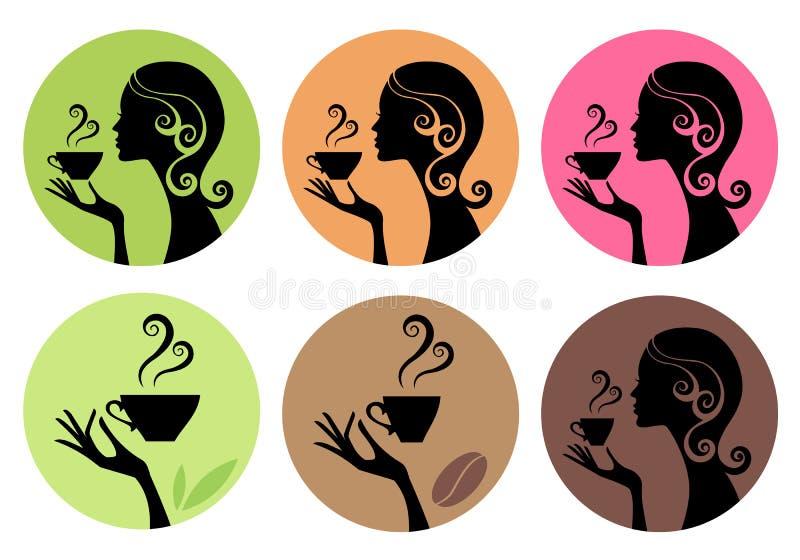 Vrouw het drinken koffie en thee, vector stock illustratie