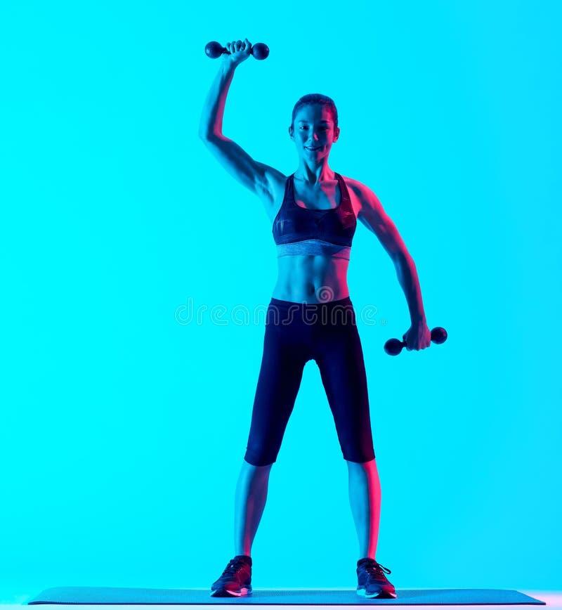 Vrouw het exercsing exercices van de gewichtengeschiktheid stock afbeelding