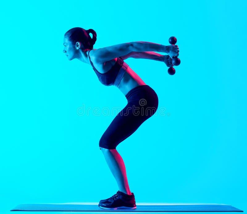 Vrouw het exercsing geïsoleerde exercices van de gewichtengeschiktheid royalty-vrije stock afbeelding