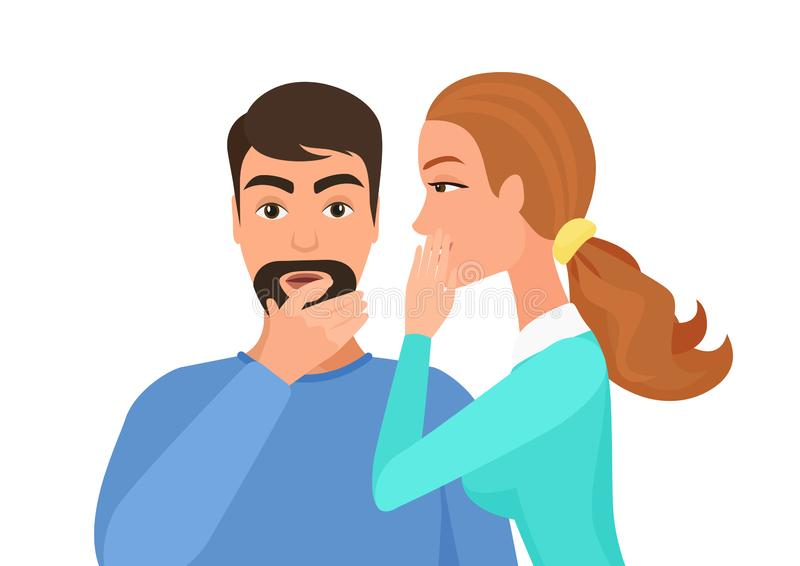 Vrouw het fluisteren roddel of geheime geruchten aan de mens Het roddelen geheime mensen vectorillustratie stock illustratie