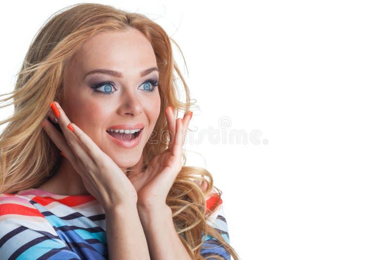 Vrouw het kijken aan de kant wordt opgewekt die royalty-vrije stock afbeelding