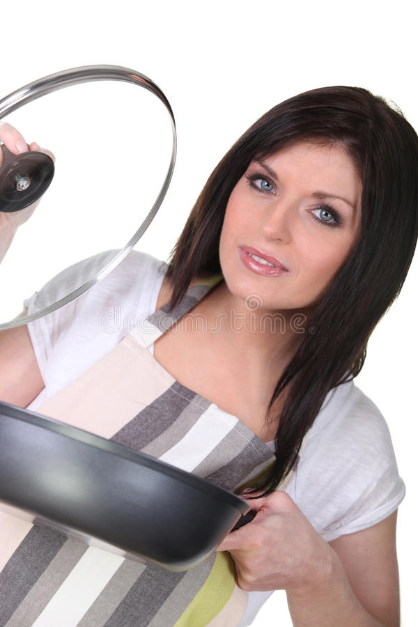 Vrouw het koken stock fotografie