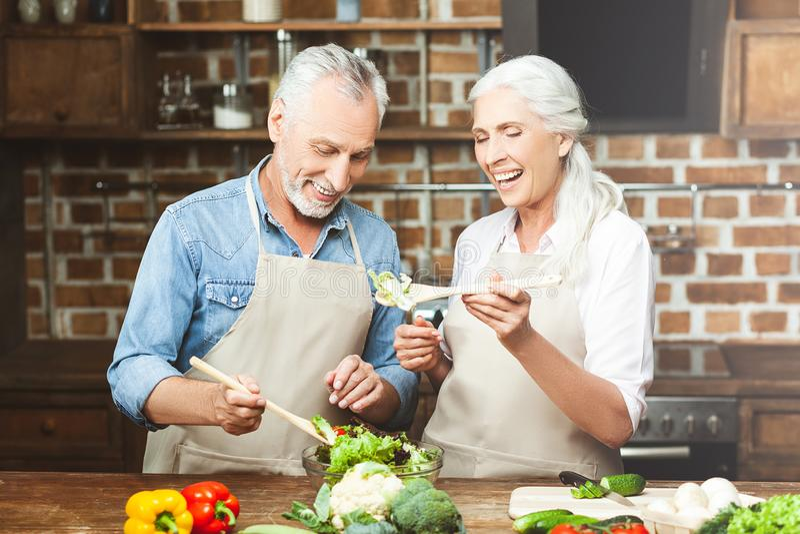 Vrouw het koken met echtgenoot stock fotografie