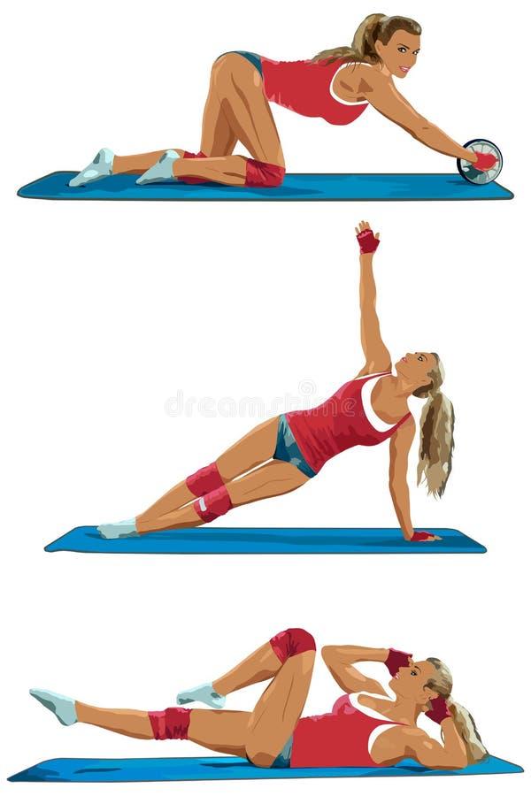 Vrouw het opheffen gewichten in een opleidingssessie stock illustratie