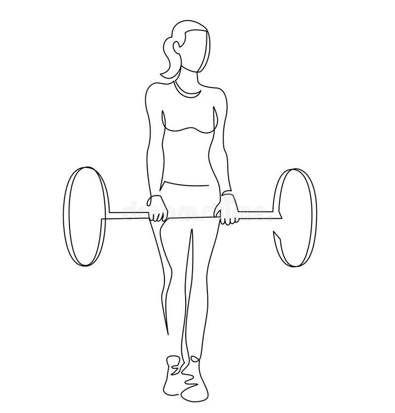 Vrouw het opheffen gewichten ononderbroken lijntekening Vrouwelijke getrokken bodybuilder vectorhand royalty-vrije illustratie