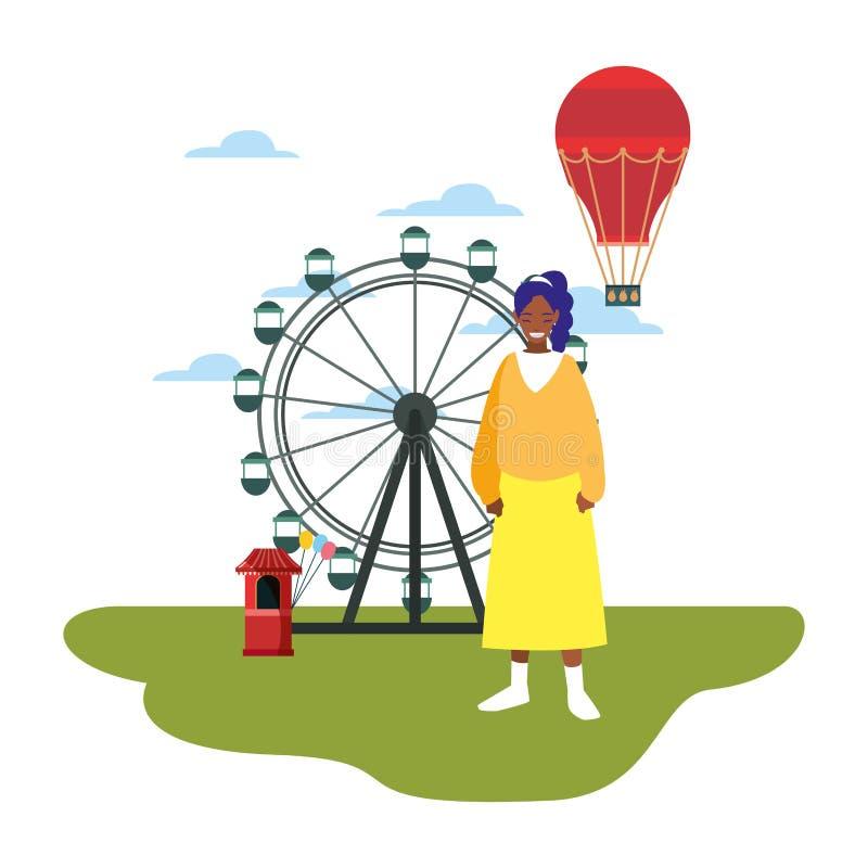 Vrouw in het parkvermaak royalty-vrije illustratie
