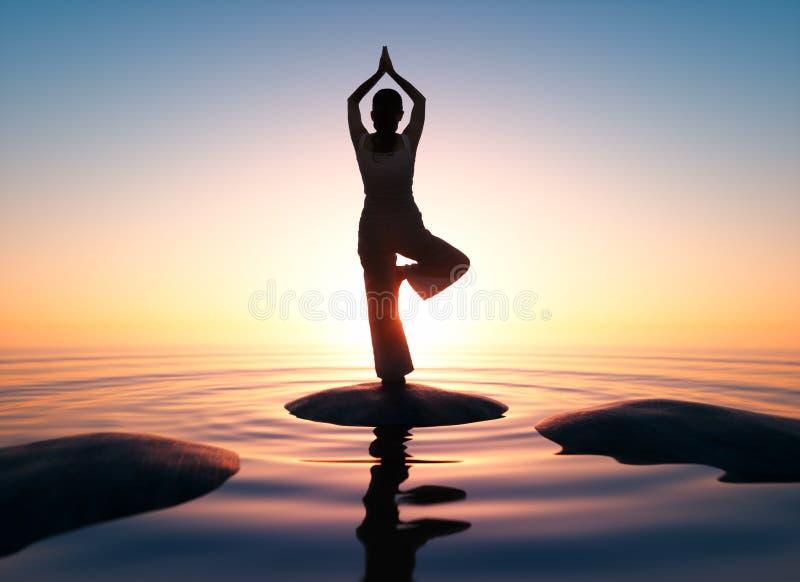 Vrouw het praktizeren yoga in zonsondergangtijd - 3D illustratie vector illustratie