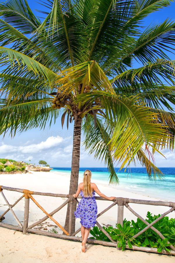 Vrouw in het purpere kleding stellen op het eenzame strand royalty-vrije stock foto's