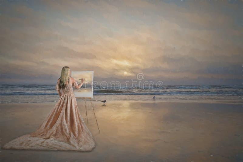Vrouw het schilderen stock foto's