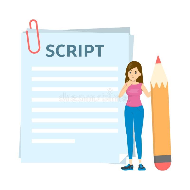 Vrouw het schrijven manuscript voor film of blog Meisje status royalty-vrije illustratie