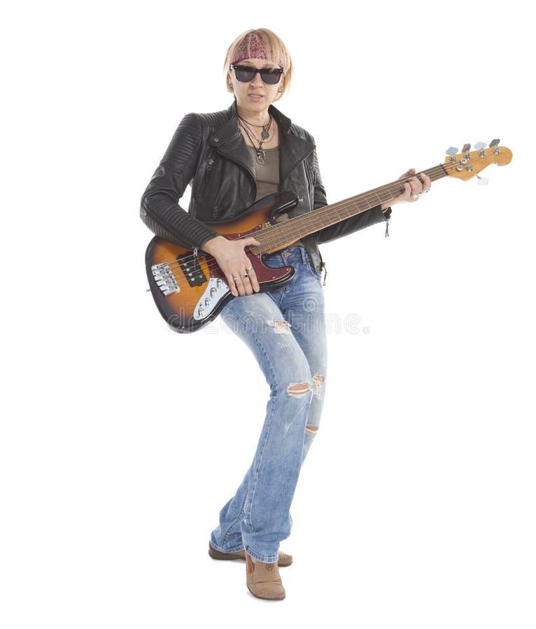 Vrouw het spelen gitaar stock afbeelding