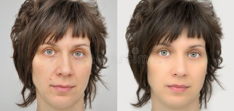 Vrouw before and after het toepassen van samenstelling en computer het retoucheren royalty-vrije stock foto