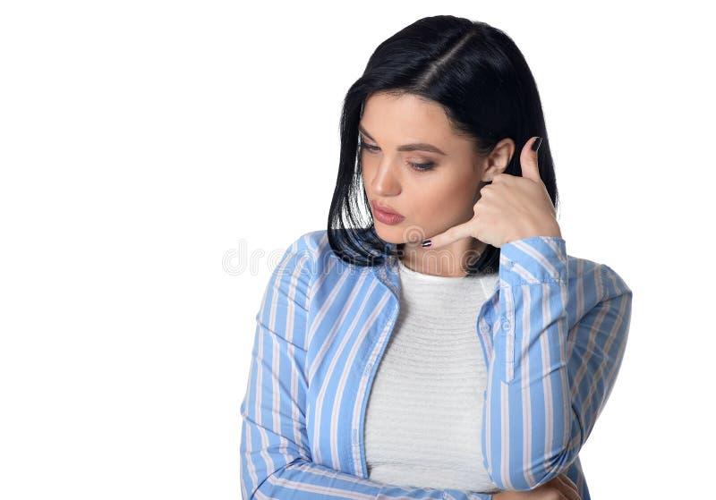 Vrouw het tonen roept me gebaar stock fotografie