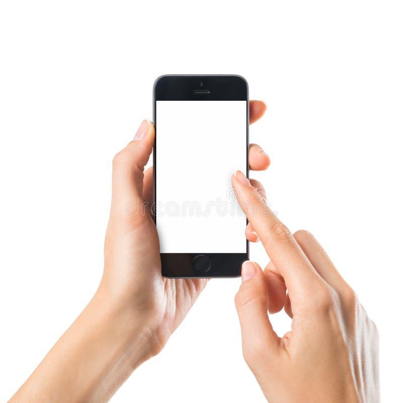 Vrouw het typen op mobiele telefoon stock foto's