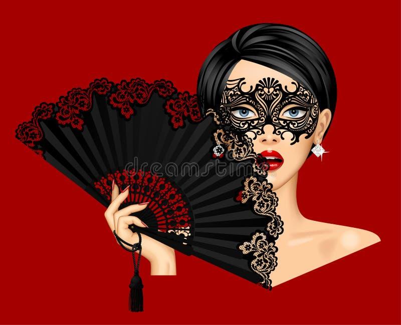 Vrouw in het Venetiaanse masker van Carnaval en holding in haar hand open bla vector illustratie