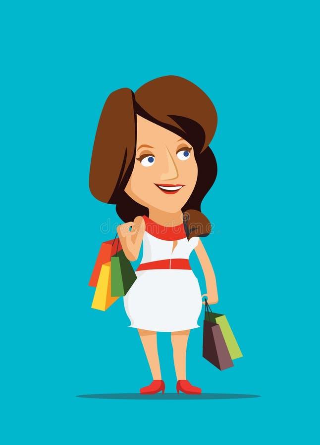 Vrouw het winkelen nieuwe kleding met klasse in de illustratie van New York stock afbeeldingen