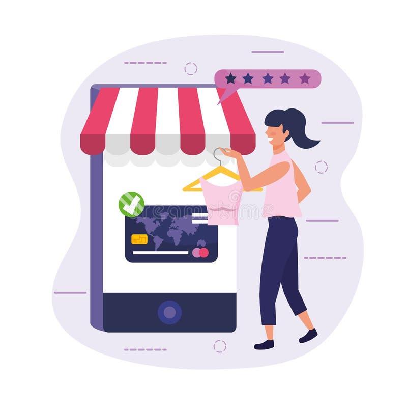 Vrouw het winkelen online blouse met haar smartphone en creditcard royalty-vrije illustratie