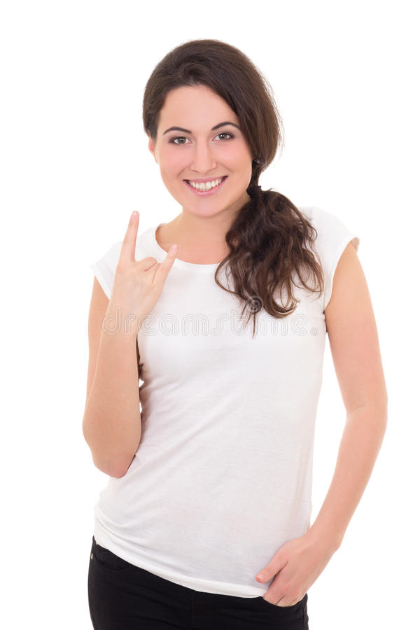 Vrouw in het witte t-shirt tonen stock afbeelding