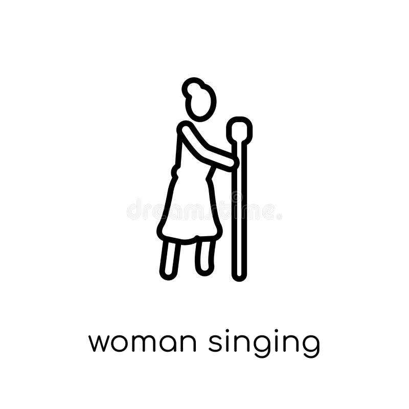 Vrouw het Zingen met Microfoonpictogram In moderne vlakke lineaire ve royalty-vrije illustratie