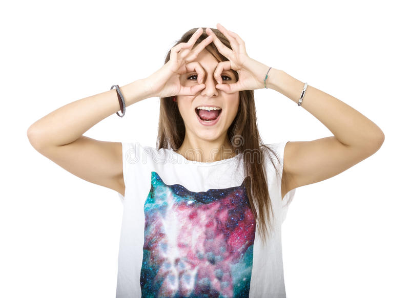Vrouw het zoeken stock foto