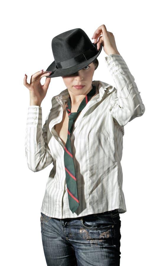 Vrouw in hoed 1 royalty-vrije stock afbeeldingen