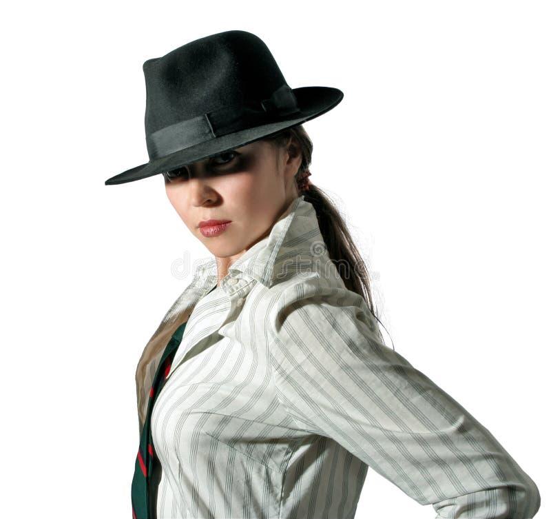Vrouw in hoed 2 royalty-vrije stock foto