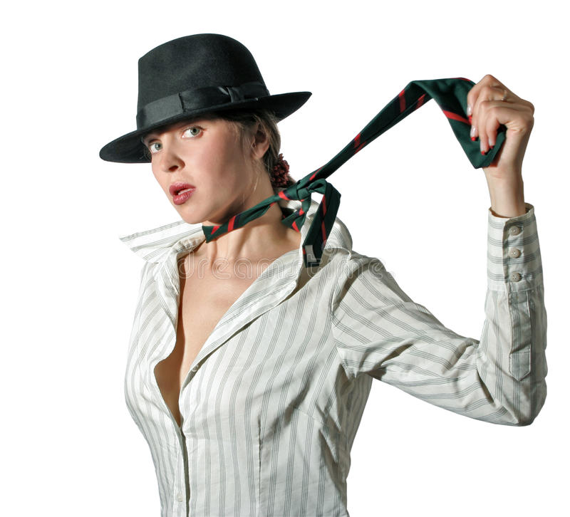 Vrouw in hoed 3 stock foto's