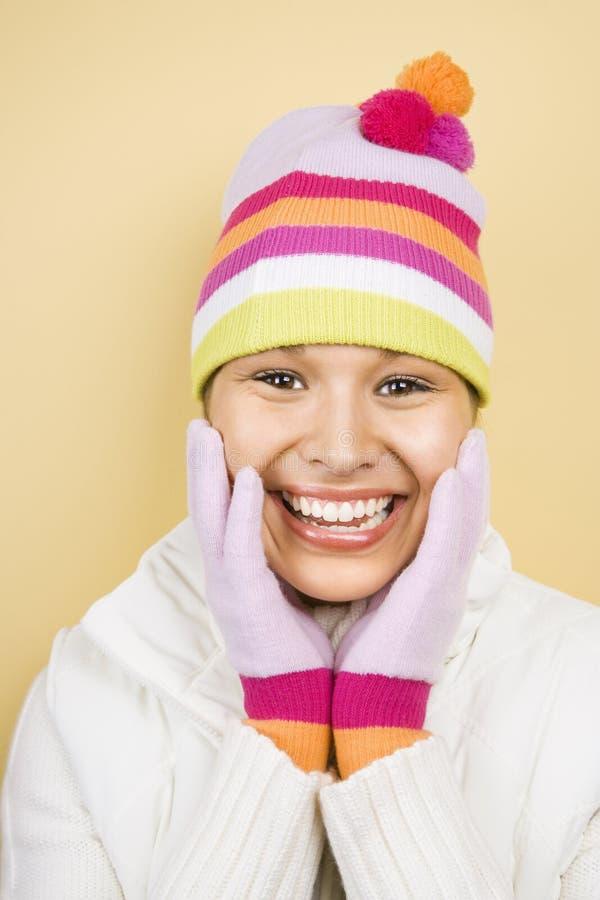 Vrouw in hoed en handschoenen. stock fotografie
