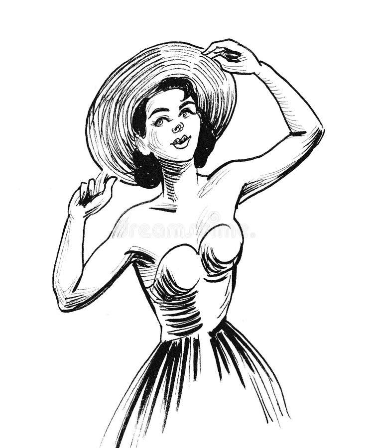 Vrouw in hoed royalty-vrije stock fotografie