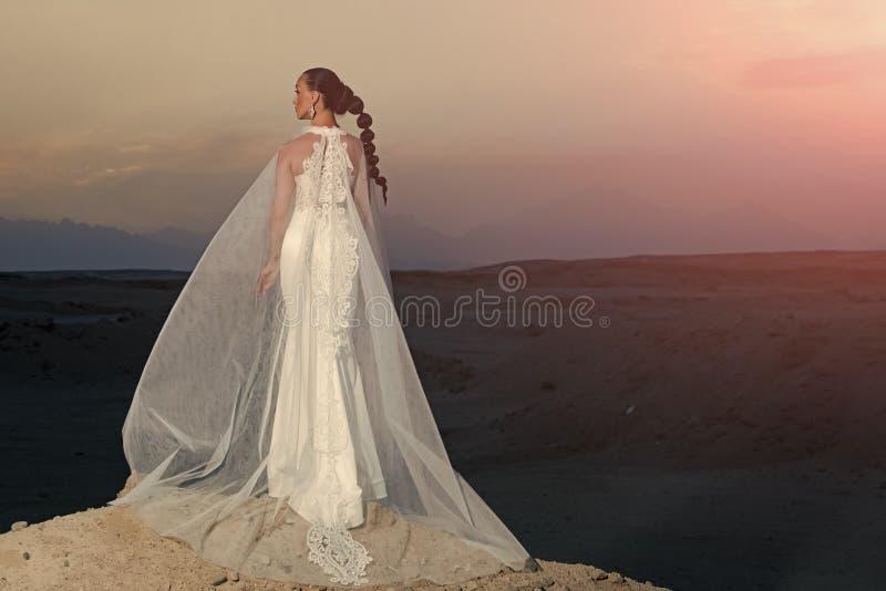Vrouw in huwelijkskleding en sluier, achtermening stock afbeeldingen