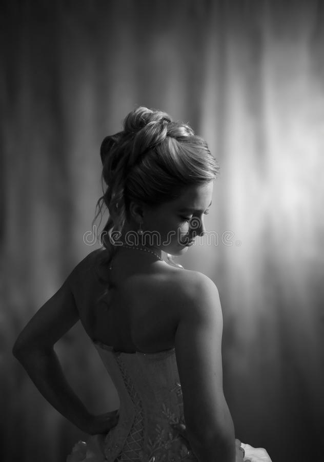 Vrouw in huwelijkstoga. royalty-vrije stock fotografie