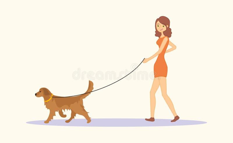 Vrouw of jong meisje die in vrijetijdskleding het ras van het hondgolden retriever lopen royalty-vrije illustratie
