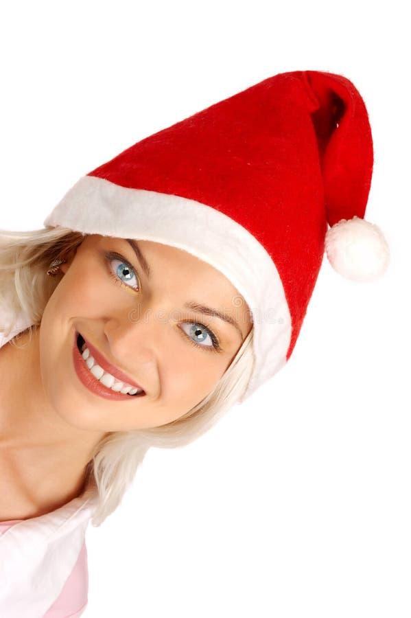 Vrouw in Kerstman GLB stock fotografie