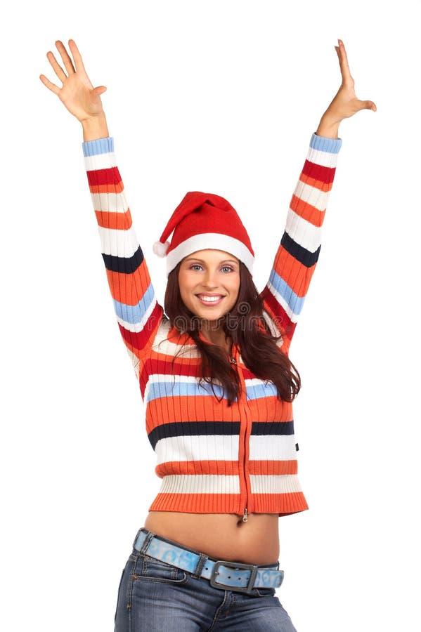 Vrouw in Kerstman GLB royalty-vrije stock fotografie