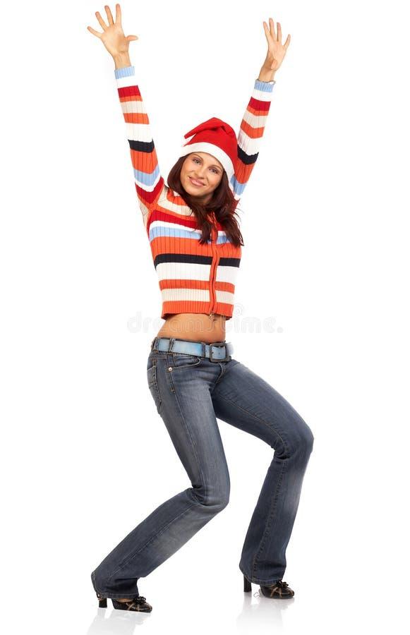 Vrouw in Kerstman GLB stock afbeeldingen